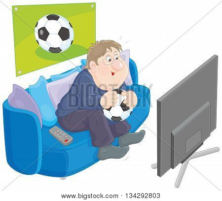 Vector illustration of a funny chubby man holding a football, sitting on his sofa and watching TV