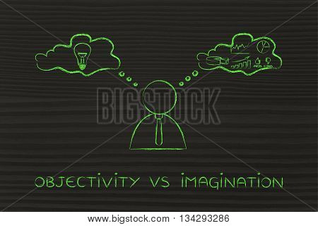 objectivity vs imagination: thoughtful businessman elaborating creative thoughts (right side of his brain) and analytical reasonings (his left side) poster