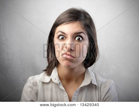 Woman with disgusted expression