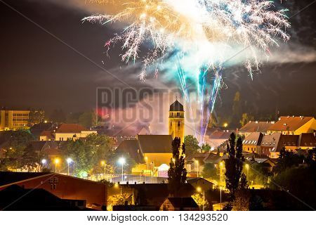 Town of Krizevci fireworks evening view Prigorje Croatia