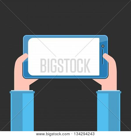 Tablet PC with white blank screen in human hands. Flat style vector illustration on black background