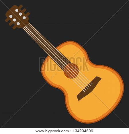 Classical acoustic flat guitar. Isolated silhouette classic guitar. Musical string instrument collection. Vector illustration on black background