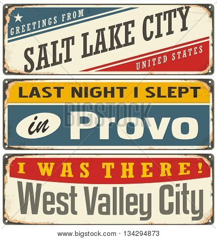 Vintage signs set with US cities. Souvenir or postcard templates with travel theme.