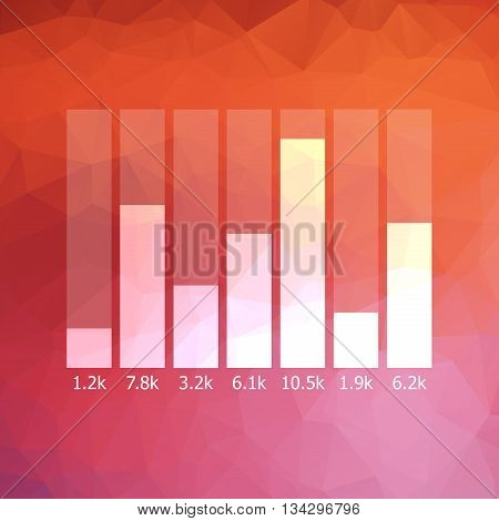 Low Polygonal Graph Icon With Data | Stock Business Success Growth Statistic Progress