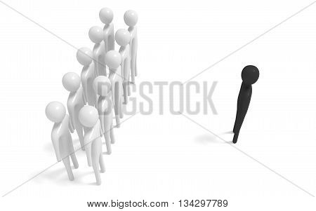 group of white 3d men with outsider 3d illustration