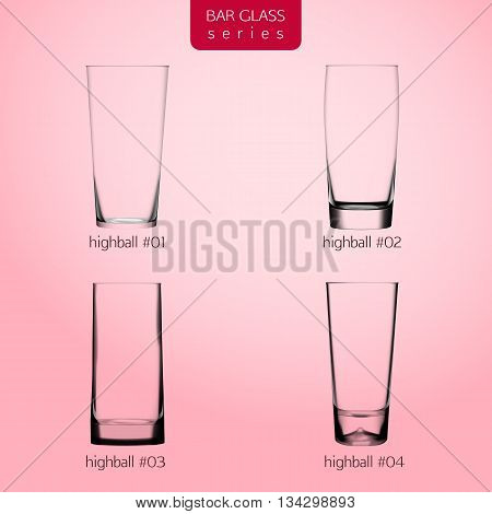 Realistic highball glasses with transparent glass on gradient background