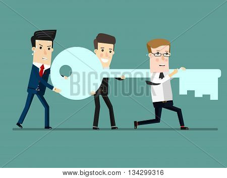 Flat design vector illustration concept of team work. Businessman and businesswoman go to the door with a key. Vector