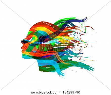 Abstract Female Head Silhouette on white background