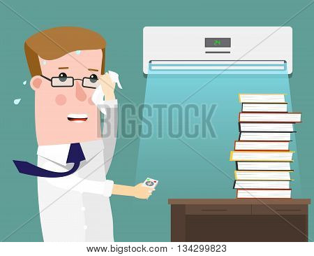 Illustration Featuring a businessman Sweating Profusely in His Office. Air Conditioning saves in the heat. Vector