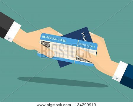 Businessman Receiving Boarding Pass and Passport from check-in Attendant. Close-up of a Businessman Handing Over His Boarding Pass and Passport at Airport check-in. Vector Illustration.