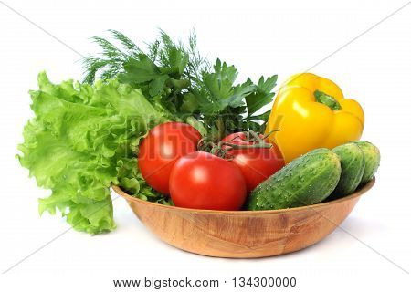 Vegetable - tomato cucumber pepper isolated on white background