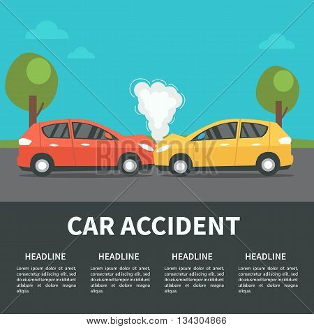 Car accident concept illustration. Vector infographic template.