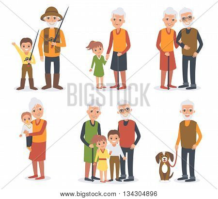 Elderly people in different poses standing together with grandchildren. Senior people activities. Vector people portrait.