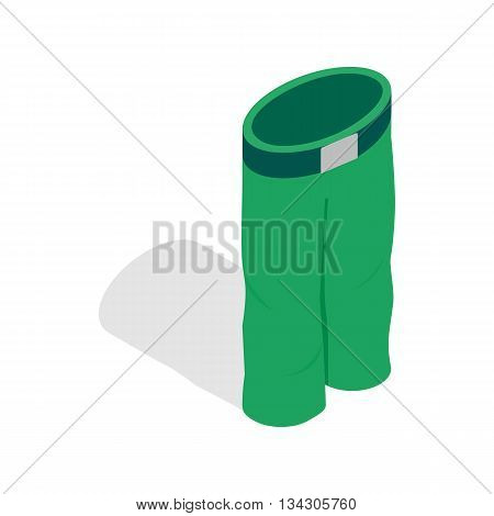 Green ski trousers icon in isometric 3d style on a white background