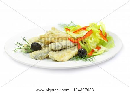 a Smelt fish - food isolated on white