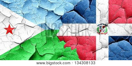 Djibouti flag with Dominican Republic flag on a grunge cracked w