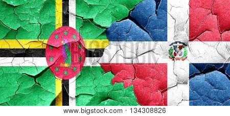 Dominica flag with Dominican Republic flag on a grunge cracked w