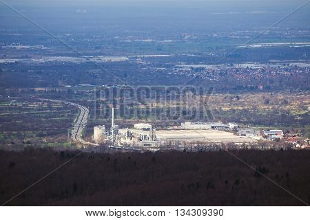 Factory Plant Besides Autobahn In Baden-wurttemberg, Germany