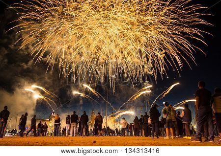SZCZECIN, POLAND - JUNE 2016: Fireworks during the Sea Days 2016 in Szczecin, Poland