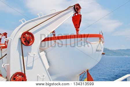 A lifeboat aboard a ferry departing from the Greek island of Skiathos.