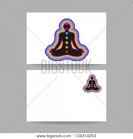 Human silhouette meditating with chakras and aura. Concept business card design for Yoga studio, Ayurveda center, Spa, Relax, Meditation club. Vector graphic illustration.