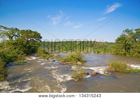Parana river the border between Argentina and Brazil