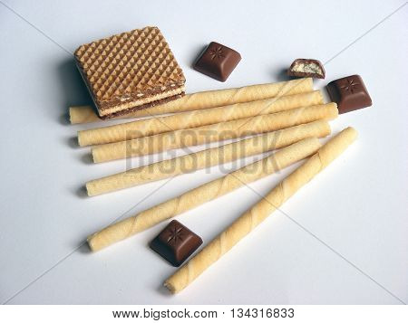 Waffer rolls with vanilla cream with isolated