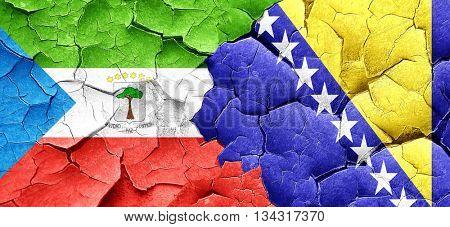 Equatorial guinea flag with Bosnia and Herzegovina flag on a gru