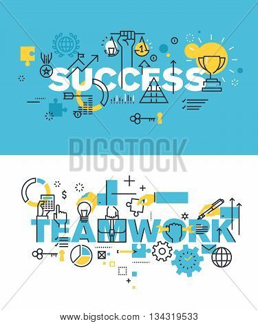 Set of modern vector illustration concepts of words success and teamwork. Thin line flat design banners for website and mobile website, easy to use and highly customizable.