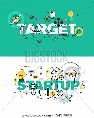 Set of modern vector illustration concepts of words target and startup. Thin line flat design banners for website and mobile website, easy to use and highly customizable.
