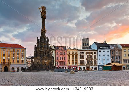 OLOMOUC, CZECH REPUBLIC - JUNE 05, 2016: Holy Trinity Column in the main square of the old town of Olomouc on June 05, 2016.