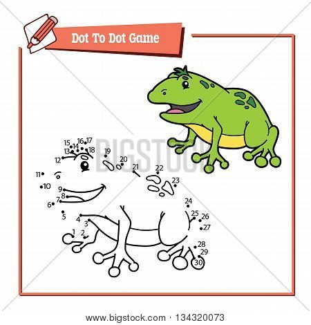 dot to dot frog educational kid game. Vector illustration of dot to dot kid puzzle with happy cartoon frog for children