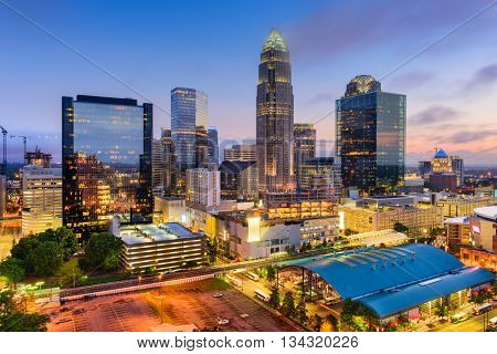 Charlotte, North Carolina, USA uptown cityscape at twilight.