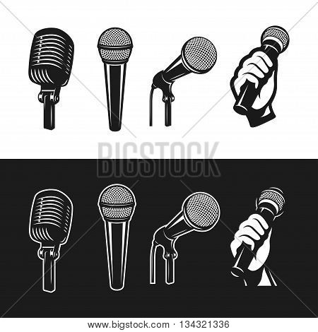 Set of monochrome microphones. Karaoke related design elements. Retro microphones minimalistic graphic set. Vector vintage illustration.