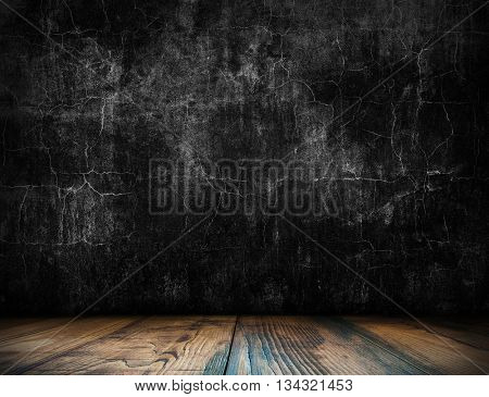 Dark loft interior room. Old interior background for montage or product presentation. Room template. Table template. Interior template. 3D illustration