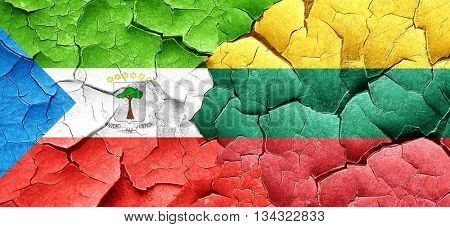Equatorial guinea flag with Lithuania flag on a grunge cracked w