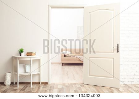 Room design interior with open door