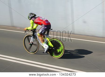 APELDOORN, NETHERLANDS-MAY 6 2016: Jakub Mareczko of pro cycling team Wilier-Southeast during the Giro d'Italia prologue time trial.