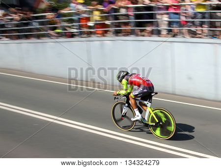 APELDOORN, NETHERLANDS-MAY 6 2016: Daniel Felipe Martinez of pro cycling team Wilier-Southeast during the Giro d'Italia prologue time trial.