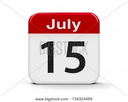 Calendar web button - The Fifteenth of July three-dimensional rendering 3D illustration