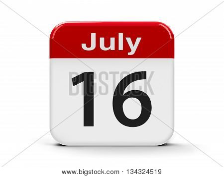 Calendar web button - The Sixteenth of July three-dimensional rendering 3D illustration