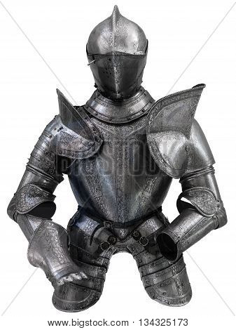 Isolated European Medieval Suit Of Armour (Armor) With Helmet