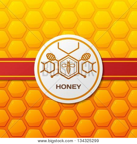 Vector Honey Logo, Label Design Elements. Honeycombs Texture Background With Ribbon And Round Label.