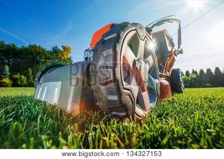 Modern Gasoline Lawn Mower on the Field. Equipment at the Backyard Garden.