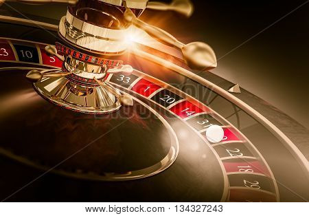 Casino Roulette Games Concept 3D Render Illustration. Vegas Gambling. Spinning Roulette Closeup.
