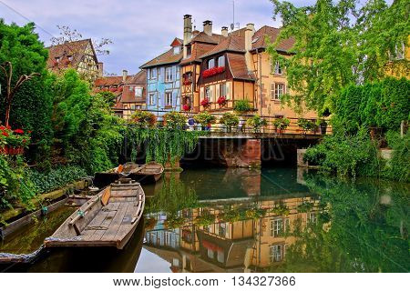 Tranquil Canals With Reflections In The Pretty Town Of Colmar, Alsace, France
