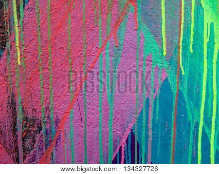 Detail of paint dripped on canvas background or wall
