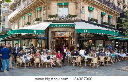 Paris France-June 09 2016 : The famous cafe Les Deux magots located in parisian Saint Germain des Pres district.It had ben frequented byErnest Hemingway Pablo Picasso...