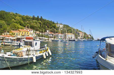 Kioni port at Ithaca Ionian islands Greece