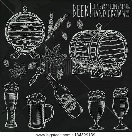 Set of beer objects. Hand drawn vector illustration.